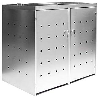 2er / 3er Mülltonnenbox Müllbox Mülltonnenverkleidung Edelstahl Schiebdach Abschließbar V2Aox, Ausführung:Für 2 Mülltonnen