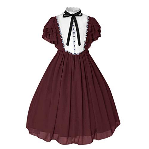 WoWer Damen Vintage Langarm Lace Rüschen Layered Midi-Kleid Mittelalter Kleid Bodenlanges Vintage Kostüm Gothic Hexenkostüm Viktorianisches Prinzessin Lange Kleider Große Größen (Mieder Lace Kostüm)