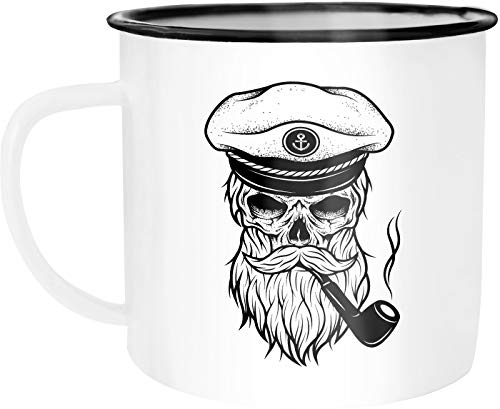 Moonworks Emaille Tasse Becher Totenkopf Captain Skull Kapitän Anker Kaffeetasse weiß-schwarz...
