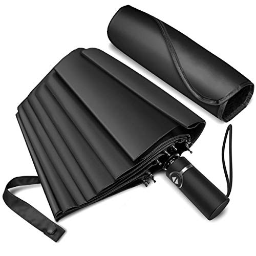 Ombrello pieghevole - 87 km/h antivento e robusto - ombrello portatile automatico antivento, ombrello pieghevole compatto resistente leggero, accensione/spegnimento automatico, ombrello da viaggio