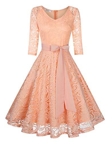KOJOOIN Damen Vintage Kleid Brautjungfernkleid Knielang Langarm Spitzenkleid Cocktailkleid Rosa Rose Gold L