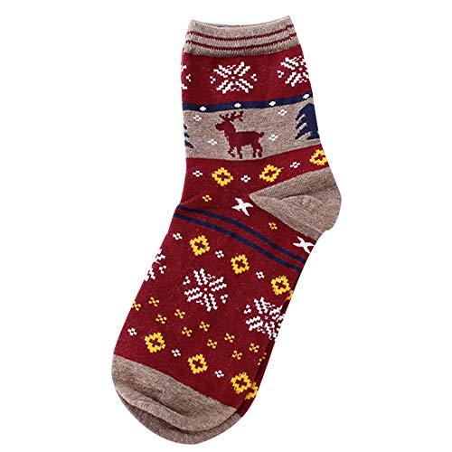 iHENGH Vorweihnachtliche Karnevalsaktion Damen Herbst Winter Bequem Lässig Mode Frauen Erwachsene Frauen Mann Weinlese nette Weihnachtselch Schneeflocke Socken