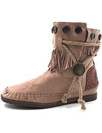d16ea1b5b Angkorly - Zapatillas Moda Botines Botas Mocasines Mujer Fleco Tanga  metálico Tacón ...