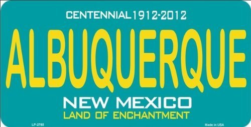 ALBUQUERQUE New Mexico State Background License Plate Aluminum Metal Sign 6 X 12 by The Vintage Sign Store
