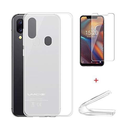 IJIA Case Hülle für UMIDIGI A3 Pro + 2X Film Gehärtetes Glas Schutzfolie - Durchscheinend Silikon Stoßkasten Handyhülle Cover Schutzhülle für Umidigi A3 Pro (2018) (5.7
