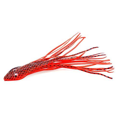 Fischköder,JKLEUTRW-Hohe Simulation Forellenköder Tintenfischrock lockt Köder Saltwater Soft Angelköder Hoochies (Rot, ONE) -