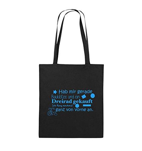 Comedy Bags - Hab mir gerade Bauklötze und ein Dreirad gekauft - Neuanfang - Jutebeutel - lange Henkel - 38x42cm - Farbe: Schwarz / Pink Schwarz / Blau