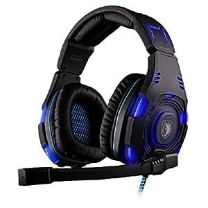 Sade SA-907 Bleu USB 7.1 Surround Sound Gaming Headset casque Microphone LED