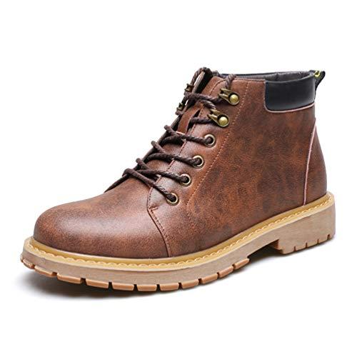 Botas de Hombre Relajado Botas cálidas otoño-Invierno Anti-Deslizamiento Resistente a la abrasión Ronda Toe conexión acogedora Zapatos de Encaje 43