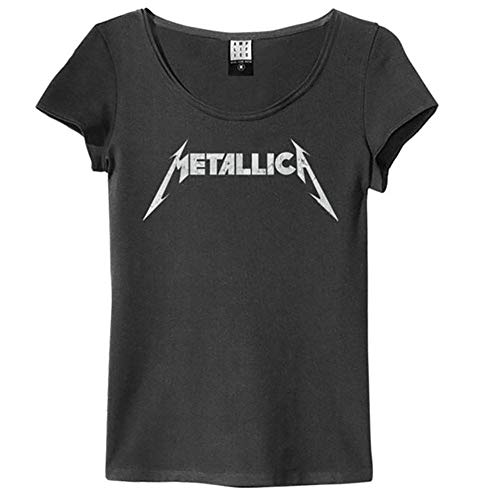Amplified Metallica - Logotipo - Camiseta Mujer Carbón