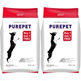 Purepet Adult Meat and Rice, 1.1 kg (Buy 1 Get 1 Free)