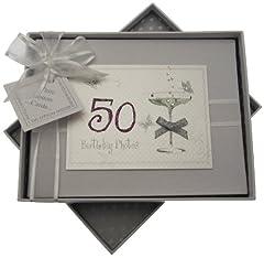 Idea Regalo - White Cotton Cards, Album di compleanno fatto a mano, max. 60 foto da 7 x 5 cm, Bianco, 50 anni