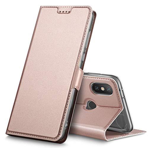 Geemai Funda Xiaomi Mi A2 / Mi 6X, Slim Case Protectora PU Funda Multi-ngulo a Prueba de Golpes y Polvo a Prueba de Silicona con Soporte Plegable para Xiaomi Mi A2 / Mi 6X.(Oro Rosa)