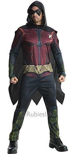Herren DC Comics Arkham Robin von Batman Superhero Halloween Büchertag Film Kostüm Kleid Outfit S-XL - Rot - Rot, Herren, L, (Arkham Robin Kostüm)
