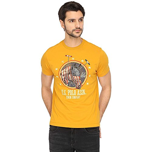 US Polo Men's Solid Regular Fit T-Shirt (UDTS0243!_Honey Yellow!_S HS)