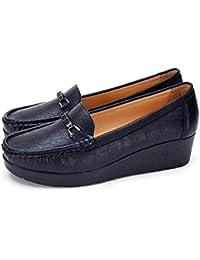 fa160dbf0e761 Mocasines Negros Planos para Mujer Invierno - Zapatos Comodos Plataforma  Cuña