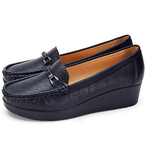 Mocassini con zeppa donna inverno - cestfini scarpe comode pelle sintetica loafers donna, la scelta migliore per il lavoro e i'uso quotidiano sh002-black-37