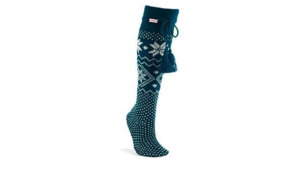 Hunter Fair Isle Slipper Socks - Petrol Blue A24235: Amazon.co.uk ...