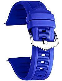 Silicone Bracelet de Montre Bracelet de Montre Smart en Caoutchouc Couleur (Blanc/Rouge/Noir/Bleu/Orange) Taille (12mm/14mm/16mm/18mm/19mm/20mm/21mm/22mm/24mm)