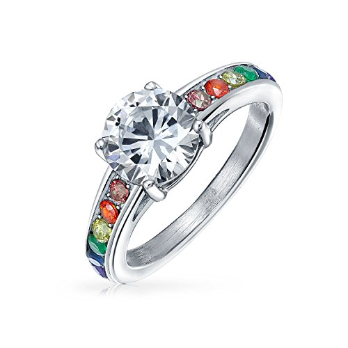 Bling Jewelry 2 CT Gay Pride CZ Solitaire LGBT Engagement Ring Band aus rostfreiem Stahl - Ring 2ct Cz Engagement