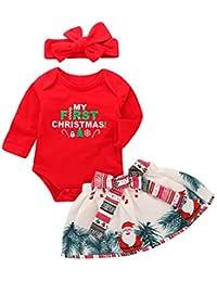 Navidad 3pcs Set Bebé Niñas Manga Larga Cuello Redondo Romper+Cintura Elástica Falda+Arco Diadema Falda Estampada Conjunto