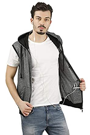 fanideaz Hooded Cotton Zipper Jacket Sleeveless T Shirt for Men S