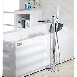 UHM Cascada Montaje de piso de llenado de bañera de hidromasaje Grifería monomando ducha de mano independiente