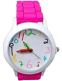 Vovotrade Reloj hermoso del todo-fósforo del estudiante de la muchacha del muchacho del cuarzo colorido de los niños de la historieta de (Rosa caliente)