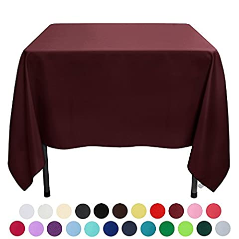 VEEYOO 180 x 180 cm Square Solid Polyester Fabric Restaurant Party Tablecloth, Burgundy