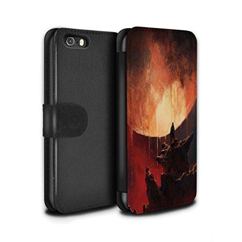 Offiziell Chris Cold PU-Leder Hülle/Case/Tasche/Cover für Apple iPhone SE / Planet/Mond Muster / Fremden Welt Kosmos Kollektion Schmelzen Sonne