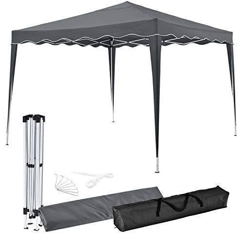 ArtLife Faltpavillon Vivara 3 x 3 m mit Tragetasche | Grau | höhenverstellbar | Stahl | Popup Gartenzelt Pavillon Partyzelt Festzelt