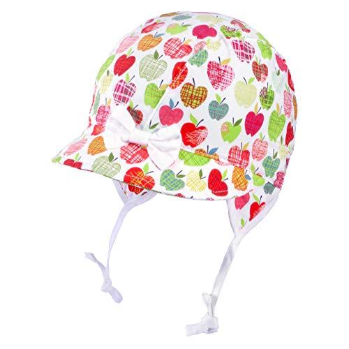 Galeja Tutu Mädchen Mütze Ecru/pink 40-42 Babymütze Bindemütze Frühling Sommer UV-Schutz 30+ Erstlingsmütze Apfel Schleife