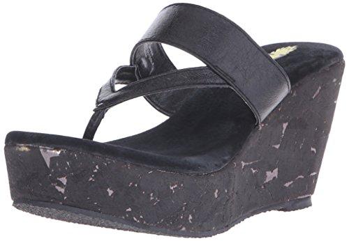 Volatile Jaitlyn Damen Leder Keilabsätze Sandale Black
