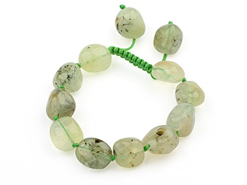 TreasureBay serie Green Nugget forma irregolare, Prehnite Gemstone Beads regolabile, spediti in una lussuosa