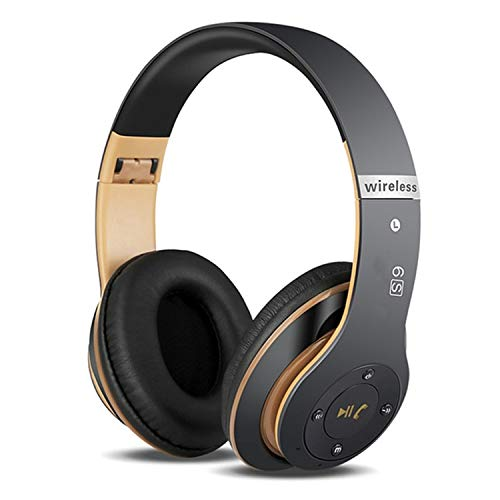6S Wireless Headphones Over Ear,Hi-Fi Stereo Foldable Wireless Stereo Headsets Earbuds with Built-in Mic, Micro SD/TF, FM for iPhone/Samsung/iPad/PC (Black &Gold)