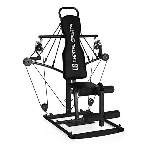 Capital Sports Tubey Mini Fitness-Kraftstation mit Gummizug-Kabeltrainer und Bein-Curler (spannbarer Gummi-Seilzug, Training ohne Gewichtsscheiben, 2X Fußmanschette, Stahl) schwarz