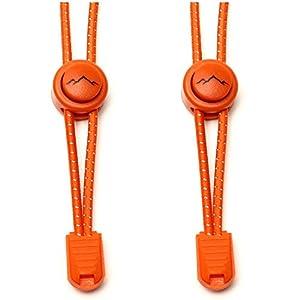 gipfelsport Elastische Schnürsenkel mit Schnellverschluss (1x Paar: orange) I Schnellschnürsystem für Schuhe ohne Binden   für Damen, Herren und Kinder