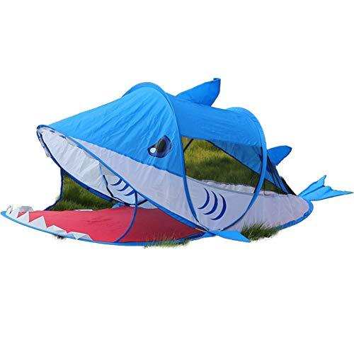 Pop Up Spielzelt, Spiel Spielzeug Cartoon Kinderzelt, Hai Und Welpe UV Pop Up Zelt Baby Großes Indoor Outdoor Geschenk Für Kinder, 180X95x70cm,Blue