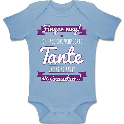 6 Finger-t-shirt (Shirtracer Sprüche Baby - Ich Habe eine verrückte Tante Lila - 6-12 Monate - Babyblau - BZ10 - Baby Body Kurzarm Jungen Mädchen)