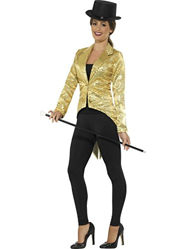 Preisvergleich Produktbild Smiffys Damen Pailletten Frack Jacke,  Größe: 36-38,  Gold,  21229