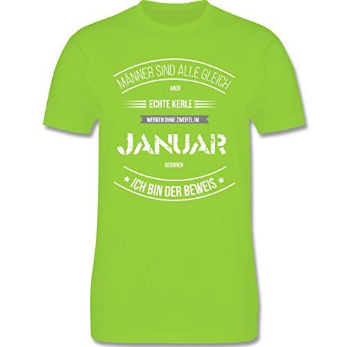 Shirtracer Geburtstag - Echte Kerle Werden IM Januar Geboren - Herren T-Shirt Rundhals Hellgrün