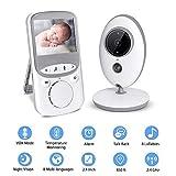 XIAOLONGY 2.4''Wireless TFT LCD Audio Vidéo Baby Monitor 2.4GHz Affichage Numérique De La Température Bébé avec Capteur Infrarouge De Vision Nocturne Et Système D'intercom Bidirectionnel, Blanc,White