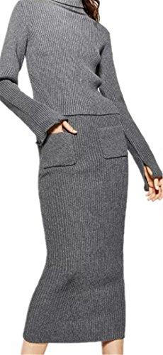 JOTHIN 2017 Frauen Elegant Lange Jerseyrock Mit Tasche Bleistiftrock Grau