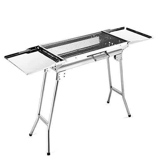 ZJY Großer BBQ-Grill, Barbecue-Kocher, zusammenklappbarer und tragbarer Edelstahl mit Tablettgriff für viele Personen geeignet -