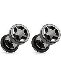 ManoaShark Herren Damen Fake Plugs 2er Set Stern Sterne Ohrstecker Ohrringe Mode Titan Schwarz 8mm