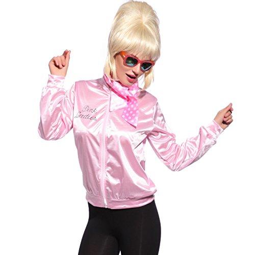 Grease Damen Gr.L FANCY DRESS Pink Ladies Jacke Jacket Sandy Fasching Karneval Halloween Kostuem