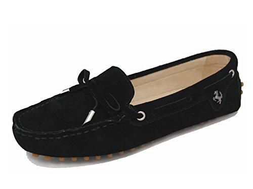 MINITOO Mädchen Damen Casual Bequeme Wildleder Knoten Schlupfschuhe Bootsschuhe Flats, Schwarz - Schwarz - Größe: 38