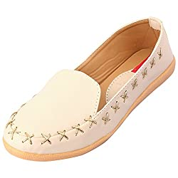 Footrendz Womenss Apealling Beige Synthetic Leather Loafers