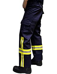 Feuerwehr-Einsatzhose mit HuPF4-Bestreifung aus Baumwolle, fireresistant - Normalgrössen