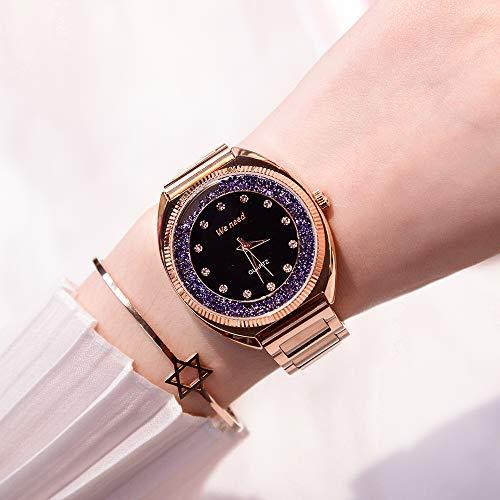 ERGWGREH Armbanduhr 2018 Trend-Wasser-Hammer-Damenuhr-erstklassige Wasserdichte Stahlband-Quarz-Uhr-Frauen-Uhr-Art- und Weiseuhr, violett